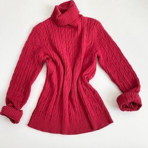 Vintage cherry cable knit turtleneck pullover